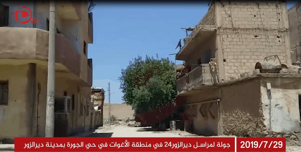 Photo of جولة لمراسل ديرالزور٢٤ في منطقة الأغوات في حي الجورة بمدينة ديرالزور